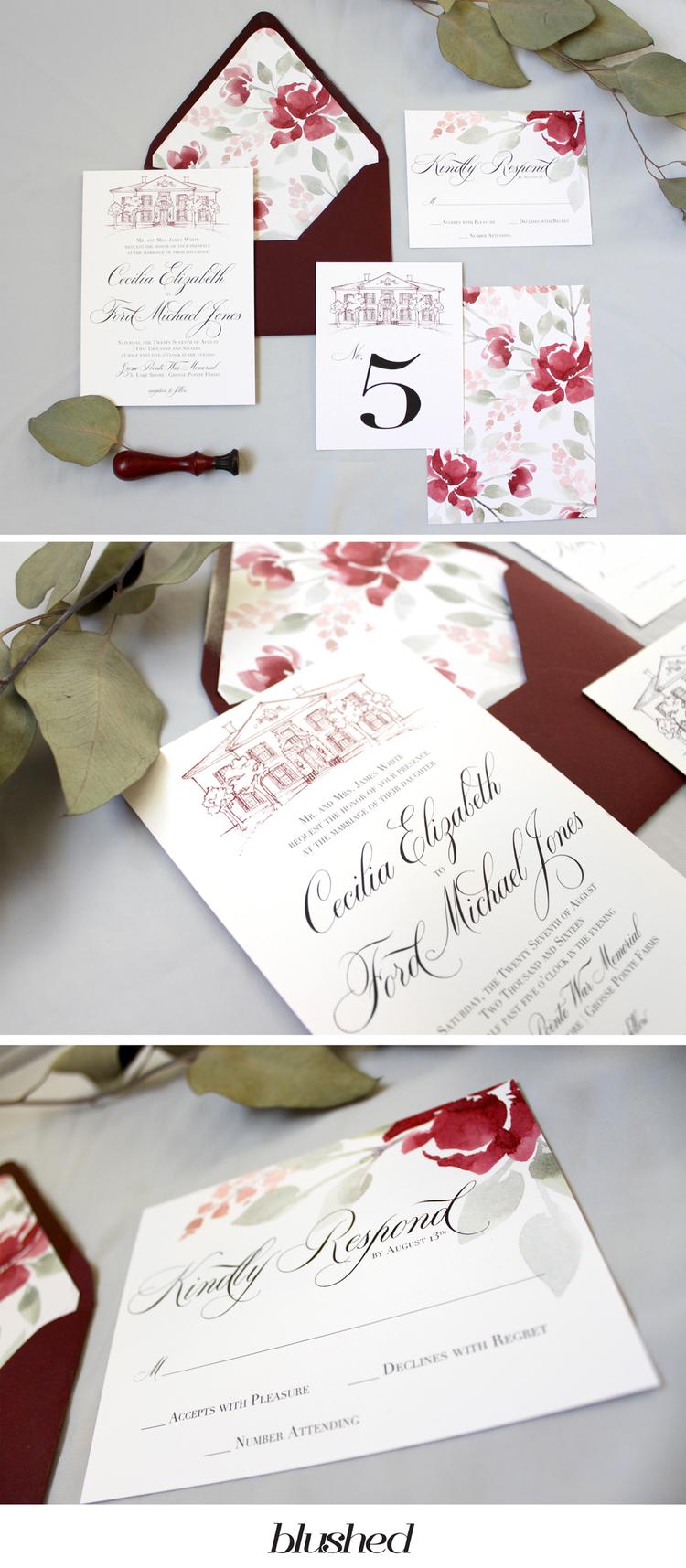 Venue Illustration Wedding Invitations - Historical Wedding ...
