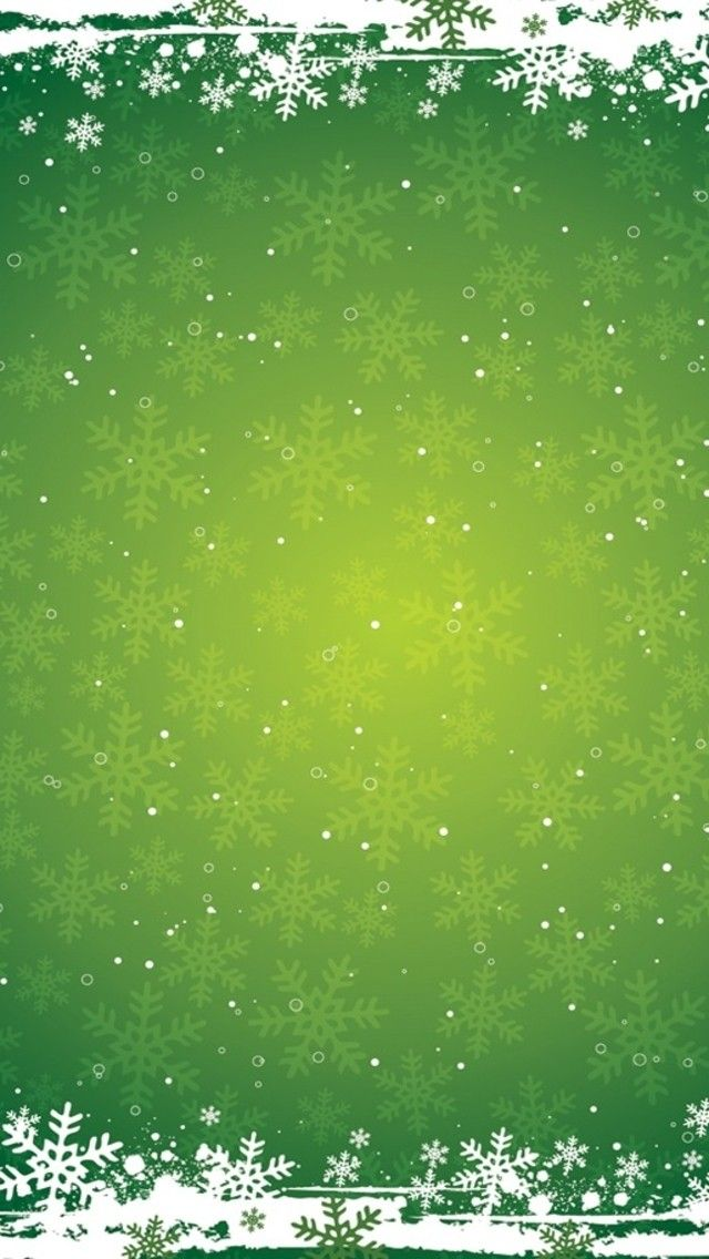 Snowflakes on Green Background Winter iOS 11 iPhone X