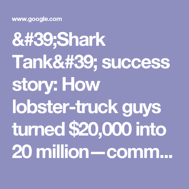 'Shark Tank' success story: How lobster-truck guys turned $20,000 into 20 million—commentary