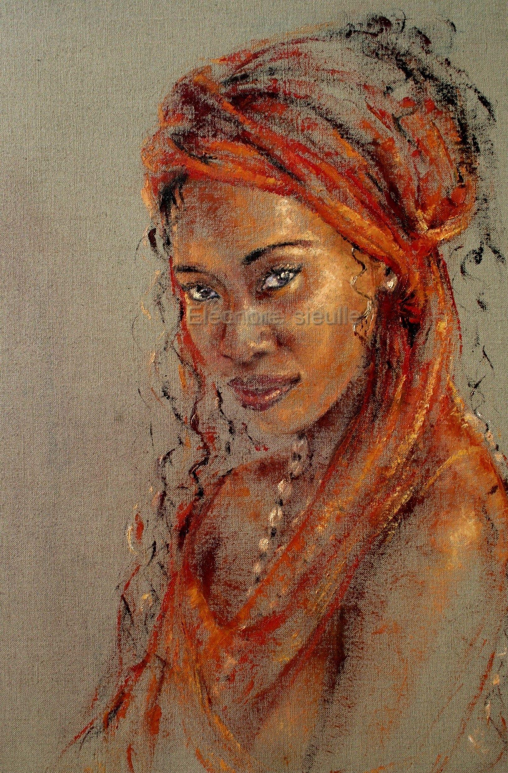 Kimia , peinture à l'huile a couteau | Portrait