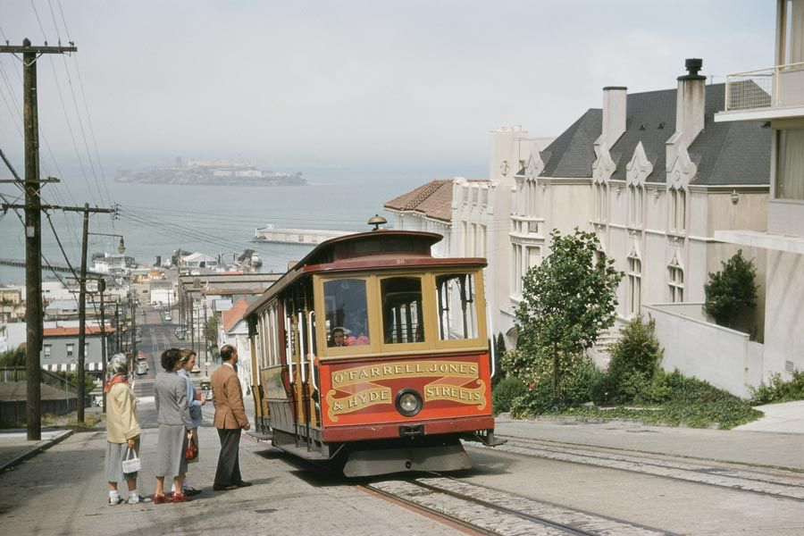 A cable car stops to pick up passengers on Hyde Street in San Francisco, 1954.Photograph by J. Baylor Roberts, National Geographic