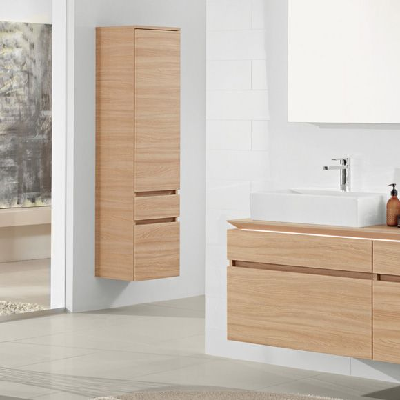 Villeroy Boch Legato Tall Unit In Elm Impresso Vonios Bathroom