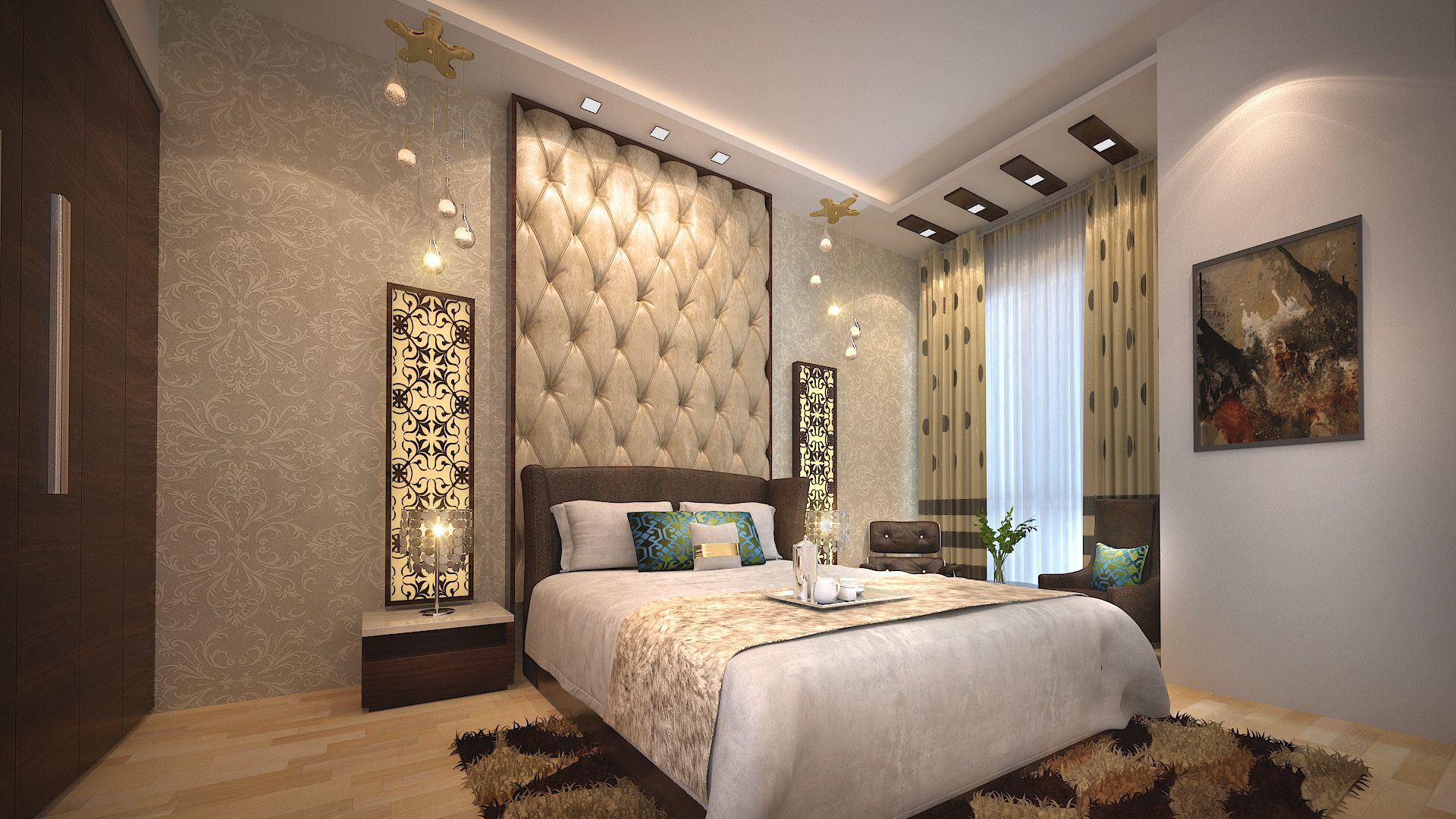View of bed room designed with wooden bed having fabricated back ...