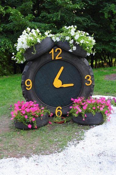 Kwietniki z opon campo Pinterest Reloj, Llantas y Jardinería - jardines con llantas