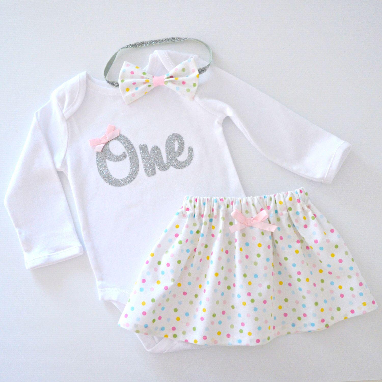 e912c4c60 Confetti Sprinkles 1st Birthday Outfit | Cake Smash Set | Baby Girl |  Pastel Polka Dot