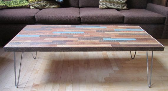 reclaimed coffee table on hairpin legs | hairpin legs, coffee and
