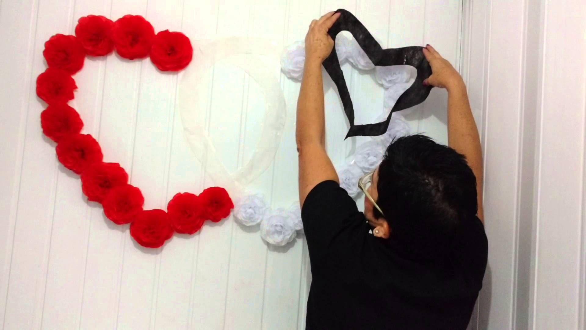 Aula 46 - Como fazer corações com flores de papel crepon (Artesanato)