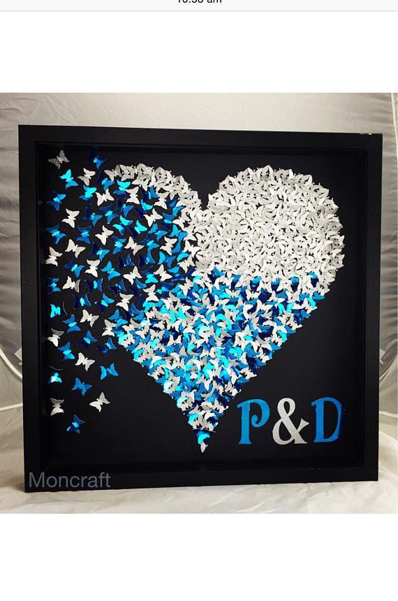 Papillons en papier 3D coeur papillon Blue papillons
