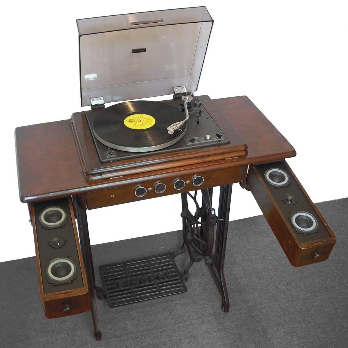 Vintage singer sewing machine table w customized sound system vintage singer sewing machine table w customized sound system watchthetrailerfo