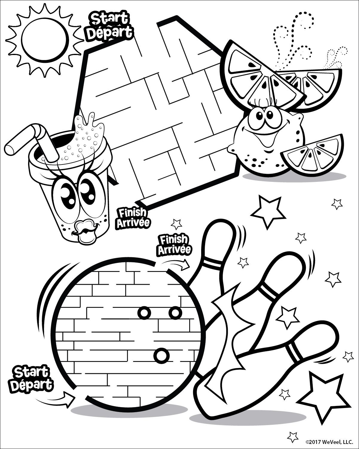 2 Mazes Including Bowling Ball Maze With Images Cute Coloring