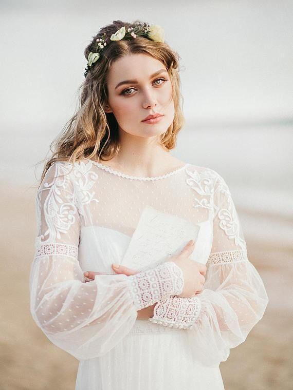 b500e6c3676 See Through Long Sleeve Lace Appliqued Ivory Beach Wedding Dresses ...