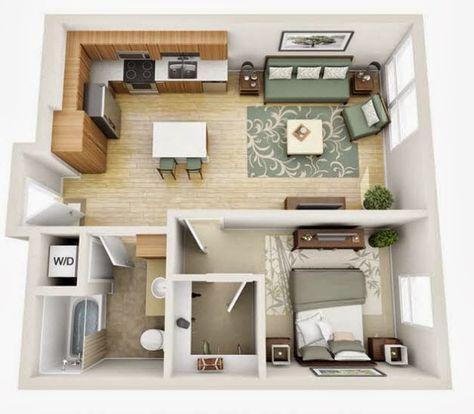 Departamentos pequeños, planos y diseño en 3D Sims, Tiny houses