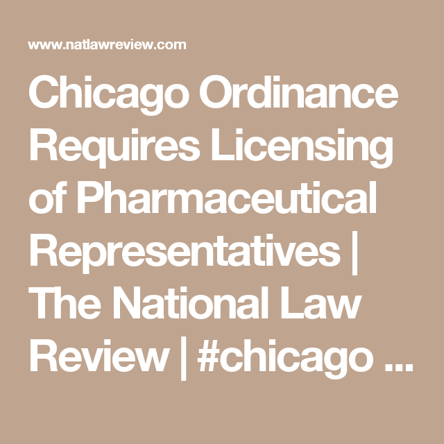 Chicago Ordinance Requires Licensing Of Pharmaceutical