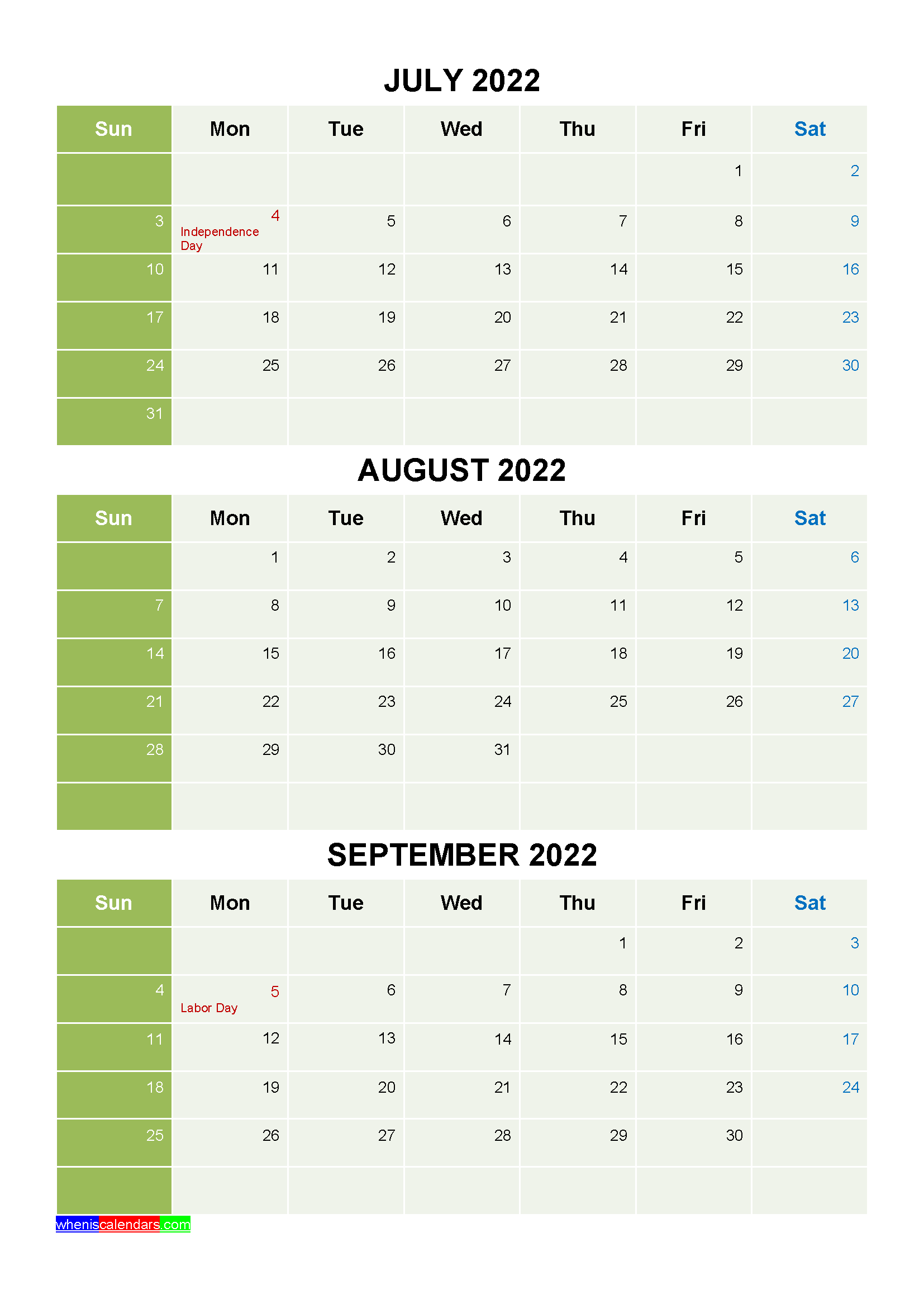Printable Calendar July August 2022.Free Calendar July August September 2022 With Holidays Four Quarters Calendar Template Free Printable Calendar Calendar Printables