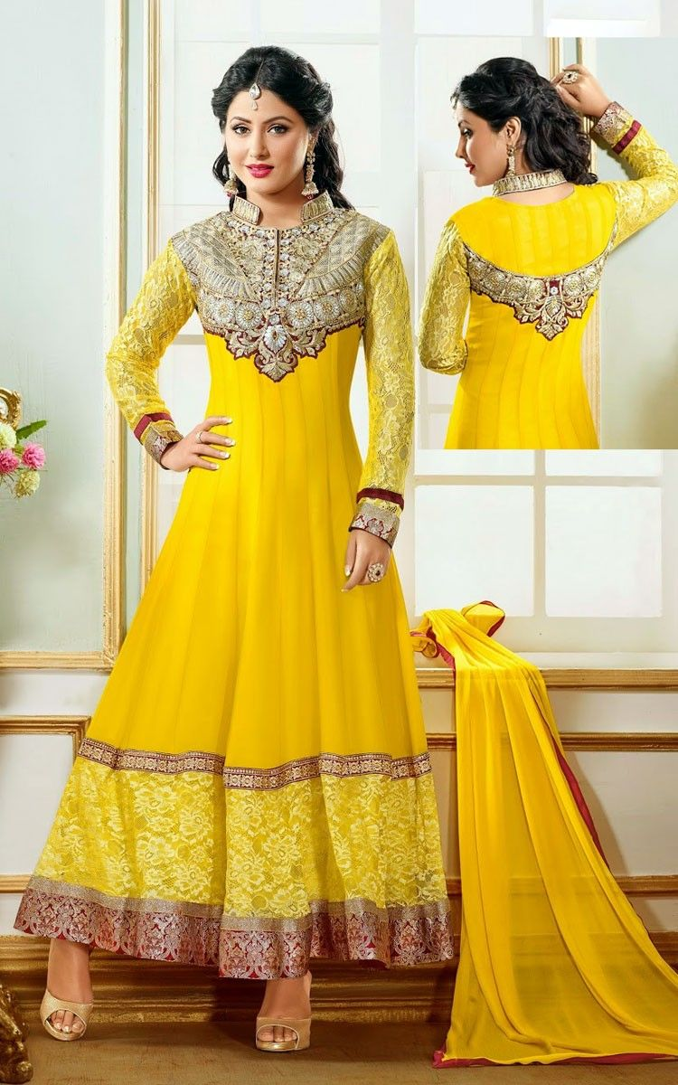 5bbf4bf2bb Hina Khan Georgette Patch Work Yellow Semi Stitched Long Anarkali Suit -  BE12