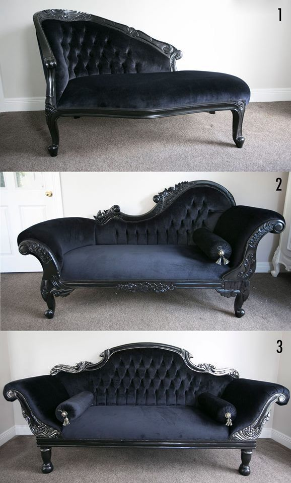 PRE ORDER Flower Carved Chaise Longue black Middle Shabby