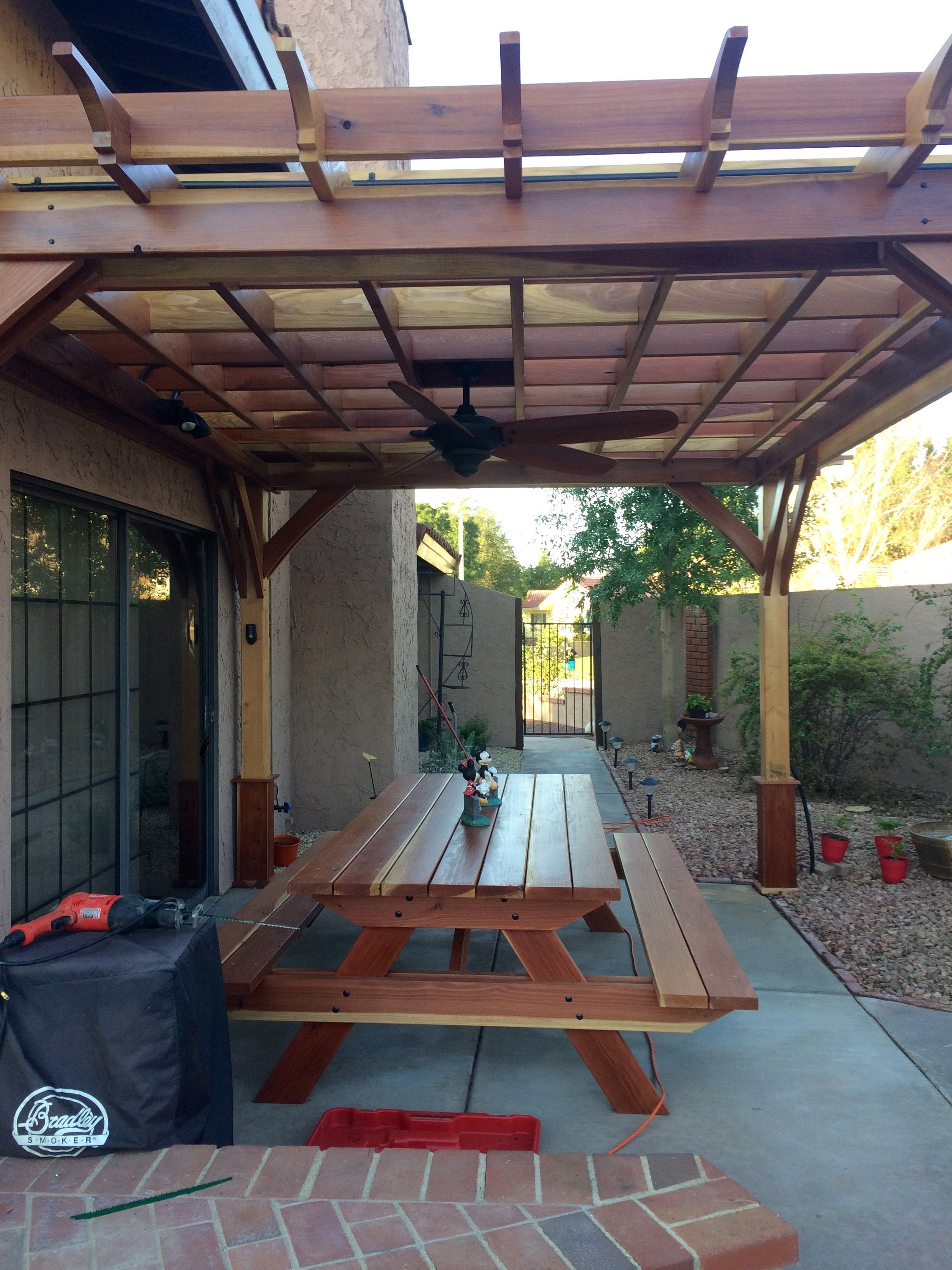 Redwood Patio Furniture Home Depot: Beautiful Handcrafted Redwood Post And Beam Patio Arbor