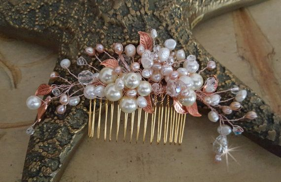 Rose Gold #Wedding Hair Comb,  Freshwater Pearl and Crystal Wedding Hair Piece,  #Bridal Head Piece,  Rose Gold Hair Comb  Rose gold leaves.  freshwater pearls and Swarovski ... #wedding #bride #bridal #garter #hairpiece #weddings #ido #bridalcomb #veilcomb #crystalcomb ➡️ http://jto.li/baDyb