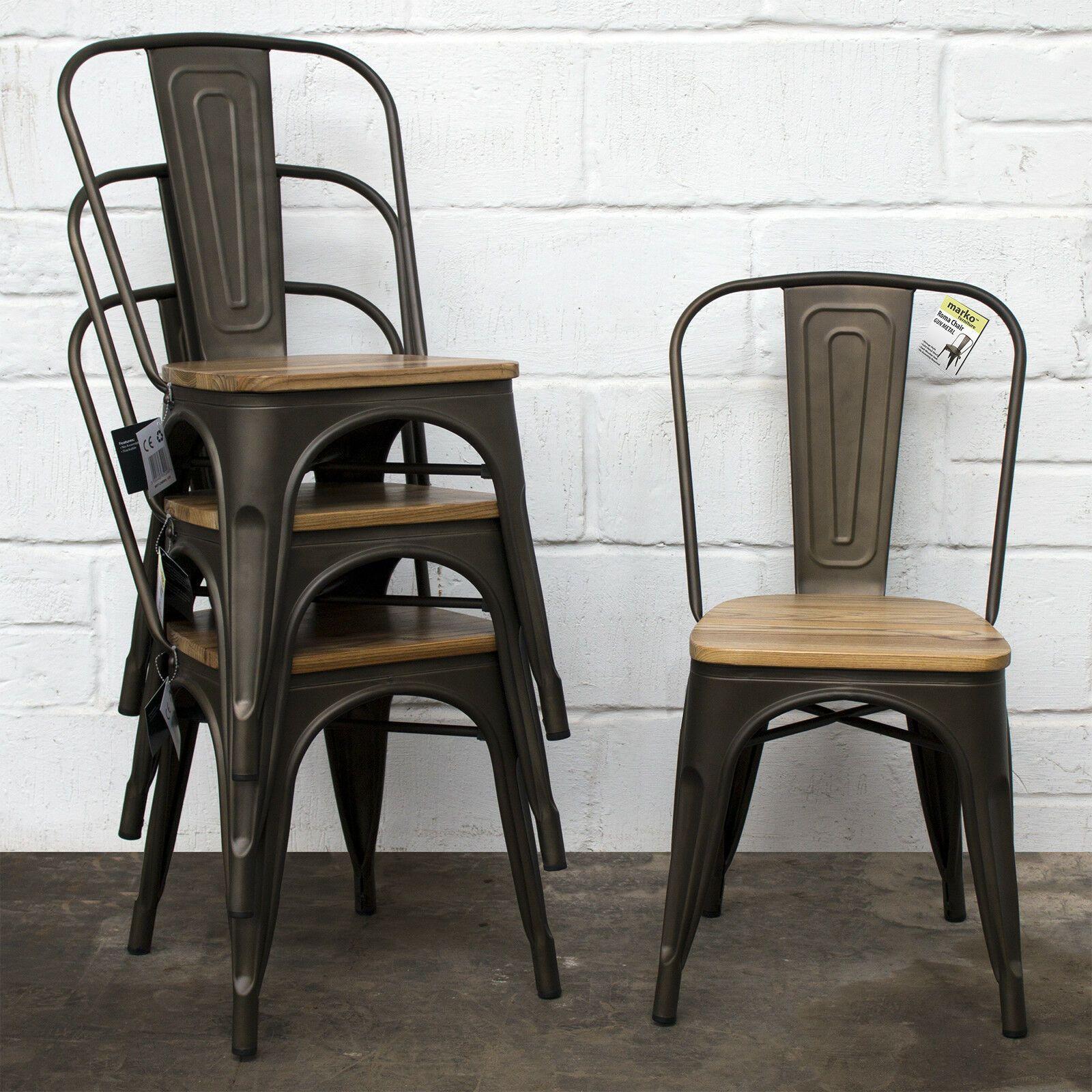 Tolix style vintage metal dining bistro chairs garden kitchen