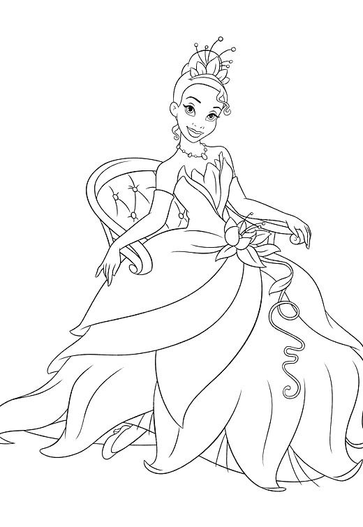 Sitting Princess Tiana Coloring Pages   Colouring   Pinterest ...