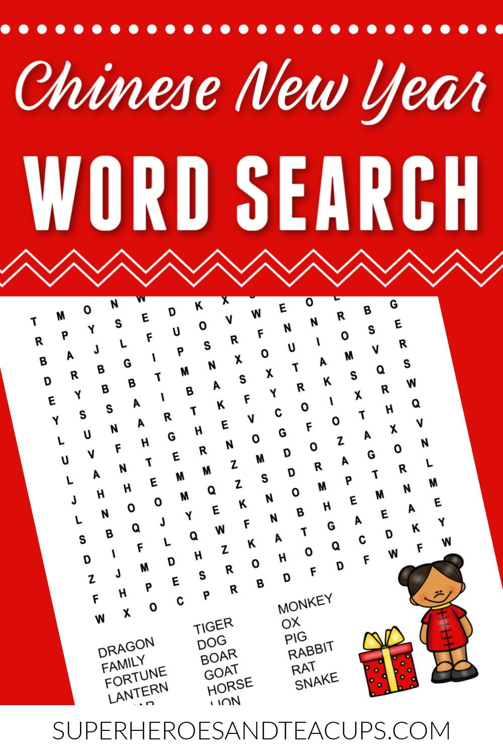 Chinese New Year Word Search Free Printable New year