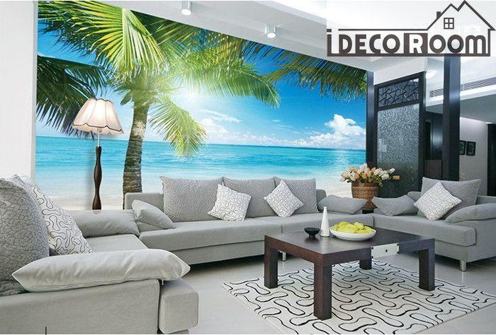 Tropical Beach View Wall Paper Wall Print Decal Wall Deco