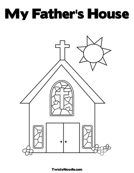 Church With Stained Glass Window Coloring Page Cut The Doors So That They Open And
