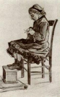 Girl Sitting, Knitting - Vincent van Gogh, 1882