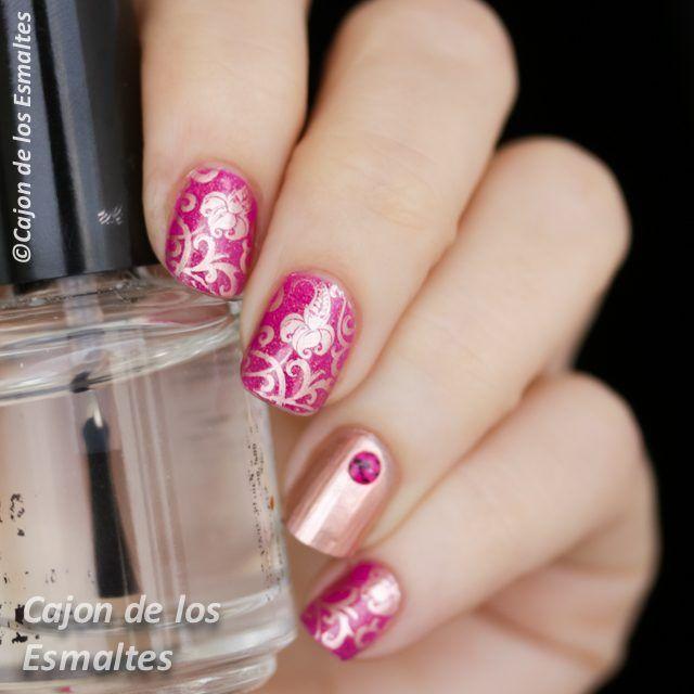 Uñas decoradas - Rosa y dorado - Placa BP 17 | Diseños de uñas, Uña ...