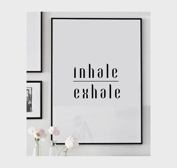 Inhale exhale print, Minimalist printable art, Yoga Gifts, Breathe print, Yoga printable, Bedroom print, Yoga print, Meditation art #inhaleexhale
