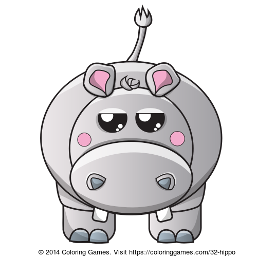Hippo coloring page Animal Coloring Pages Pinterest