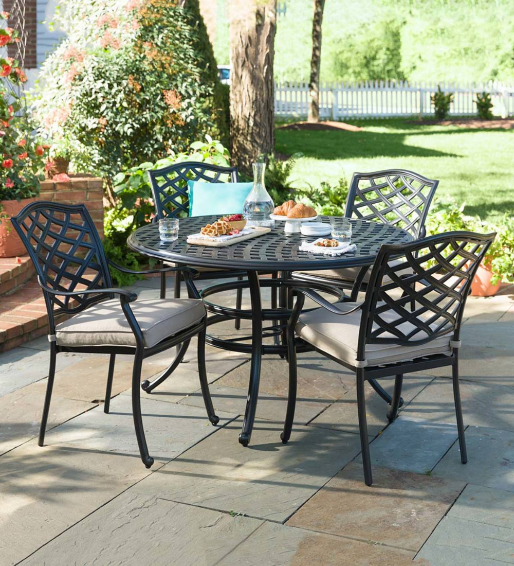 Our Park Grove 5 Piece Dining Set Elevates Your Own Yard To Your Favorite Place To Dine Out Consisting Of Four Chairs With Cu 5 Piece Dining Set Outdoor Patio