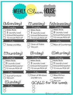 Free Printable Weekly House Cleaning List  Free Printable House
