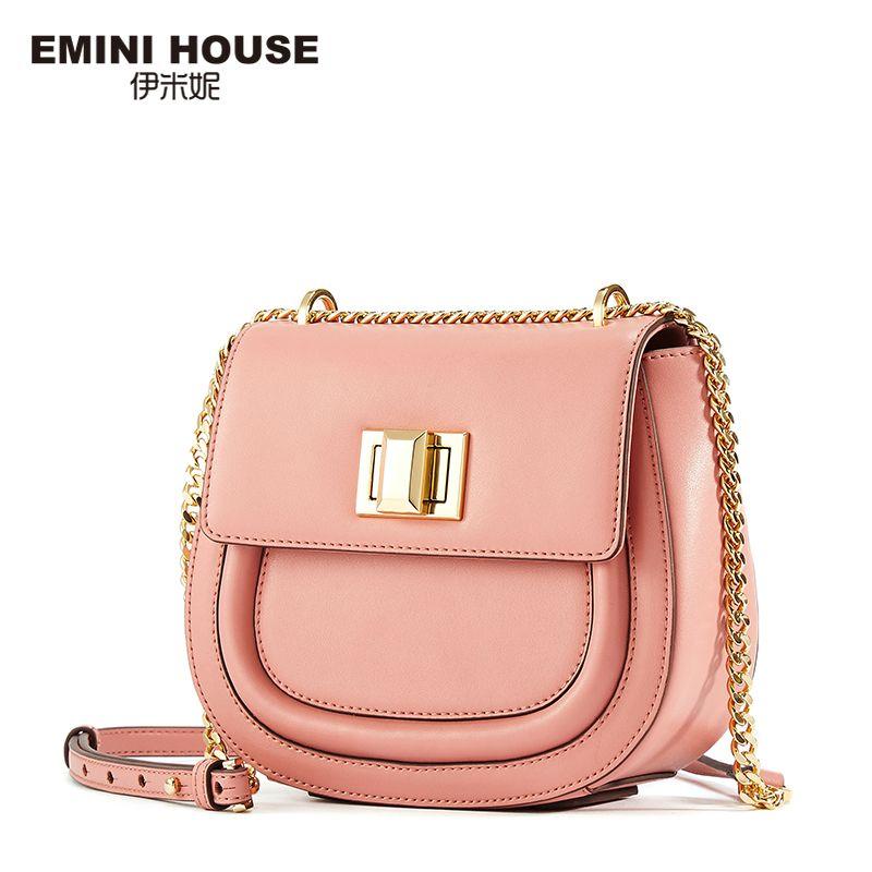 1e1b1e5e3e4e EMINI HOUSE Fashion Saddle Bag 5 Colors Split Leather ladies Chain Bag Women  Shoulder Crossbody Bags For Women Messager Bags