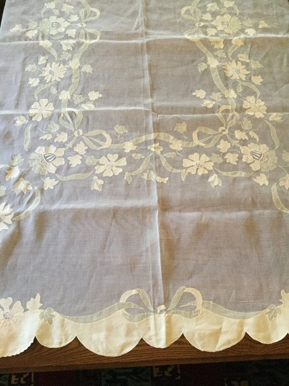 Embroidered Madeira Fine Linen Organdy Tablecloth 12