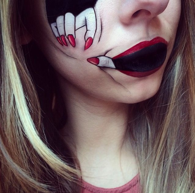 This Super Creepy Halloween Lip Art Will Transform Your Face Lip Art Halloween Makeup Easy Face Painting Halloween