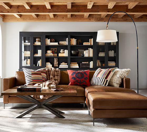 Wondrous Jake Leather Sectional Ottoman Down Blend Cushions Squirreltailoven Fun Painted Chair Ideas Images Squirreltailovenorg