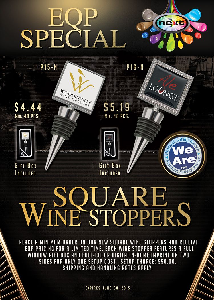 Special EQP Pricing on Square Wine Stoppers