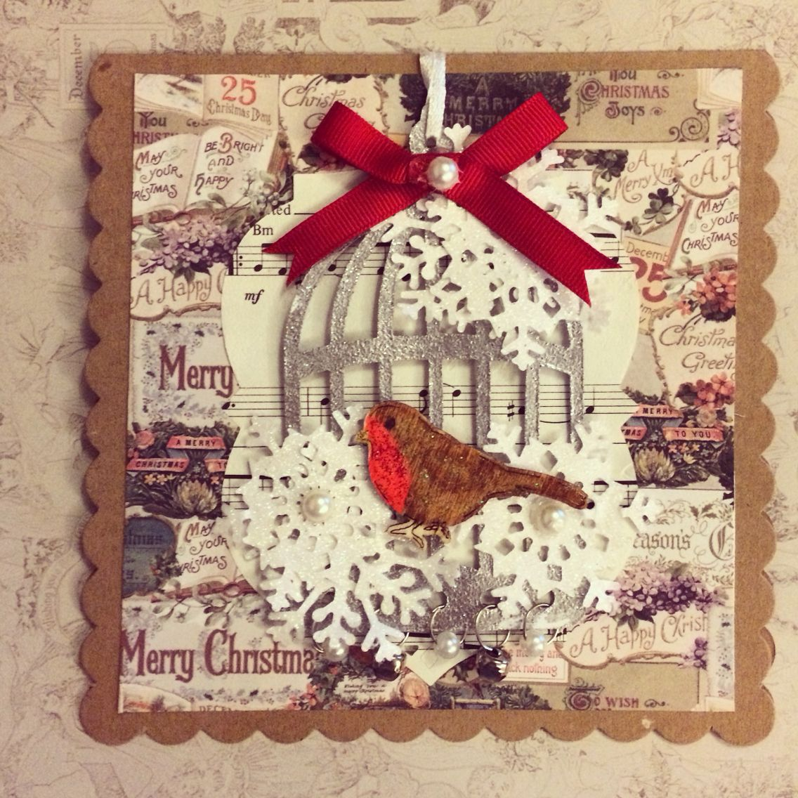 Birdcage Christmas card made by me with Tim Holtz birdcage die and docrafts Victorian Christmas papers
