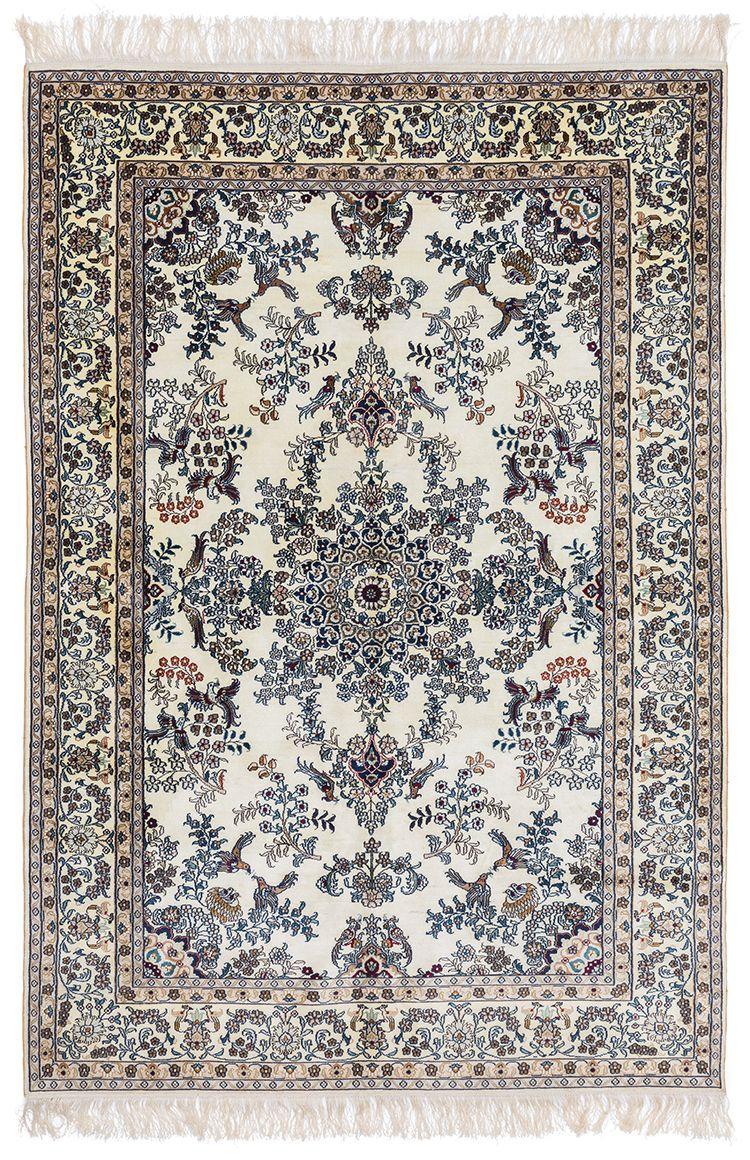 A Kashmir Silk Carpet With Bird Motif And Narrataive Design Silk Carpet Carpet Rug Runner Hallway