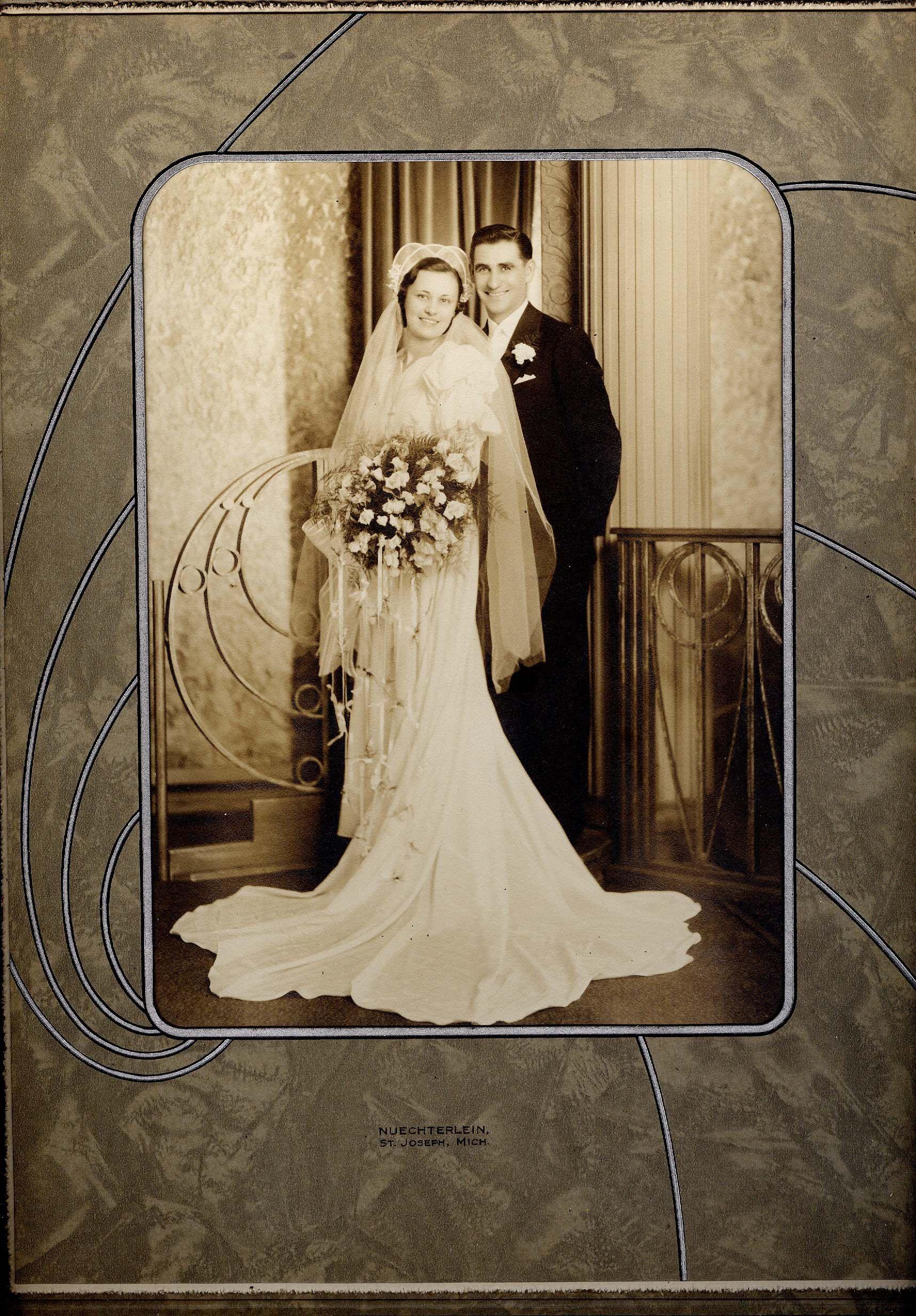Vintage Photo Wedding NUECHTERLEIN St Joseph MI From A Yard Sale On