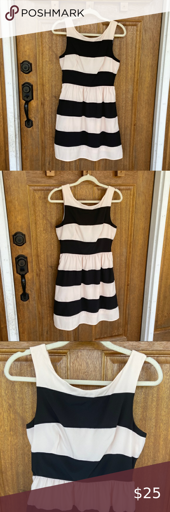 Rhapsody Black Cream Thick Striped Dress Medium Clothes Design Striped Sleeveless Dress Dresses [ 1740 x 580 Pixel ]