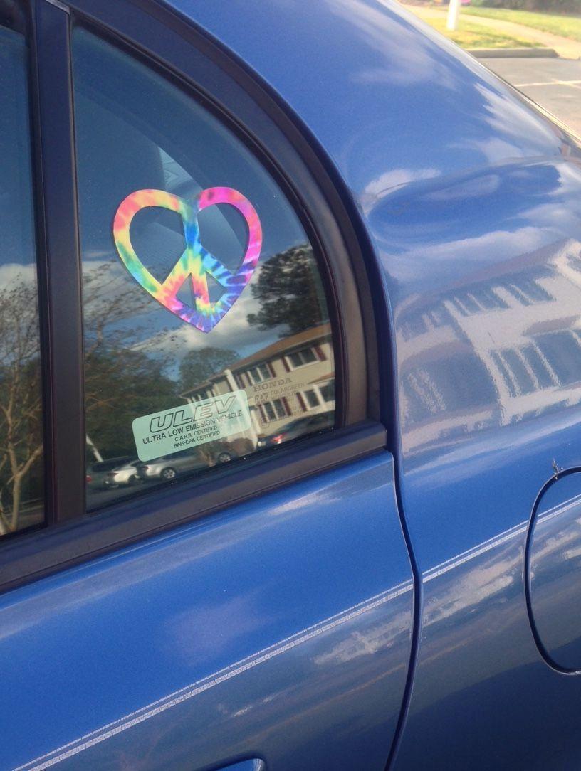 Tie Dye Sticker, Peace sign sticker, peace heart sticker, peace heart car decal…