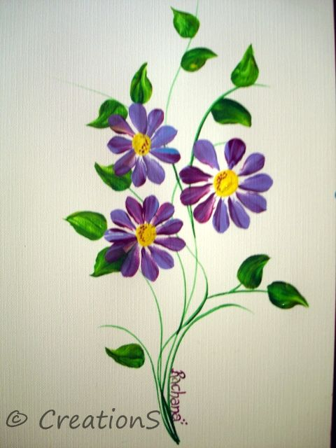 One Stroke card painting ideas | CreationS - The Essene of Arts: New  Lession -