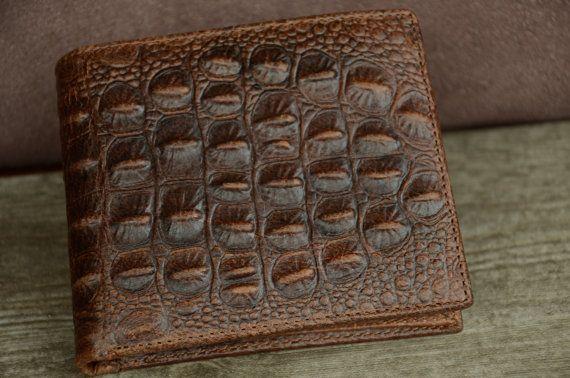 ceeda2ecaf1a Mens Wallet Brown Leather Wallet Faux Crocodile Alligator Skin ...