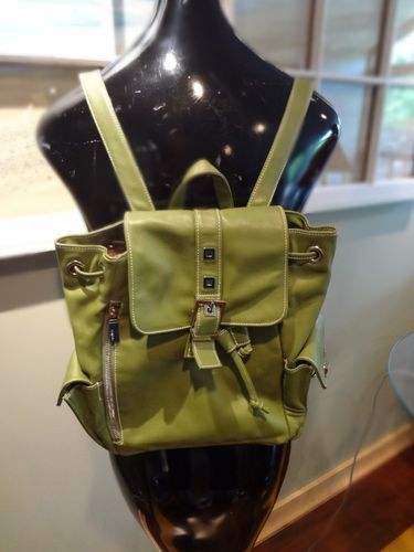 PERLINA Green Leather Handbag Lots Of Pockets Retail 220.00 BACKPACK