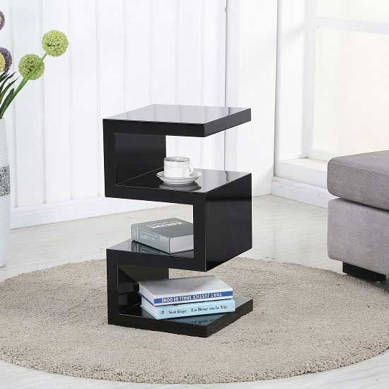 Trio Modern Side Table In Black High Gloss Mdf Looks