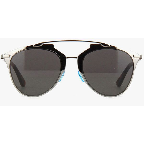 Dior Reflected ($440) ❤ liked on Polyvore featuring accessories, eyewear, sunglasses, metal-frame sunglasses, dark black lens sunglasses, dark sunglasses, tortoiseshell sunglasses and black lens aviator sunglasses
