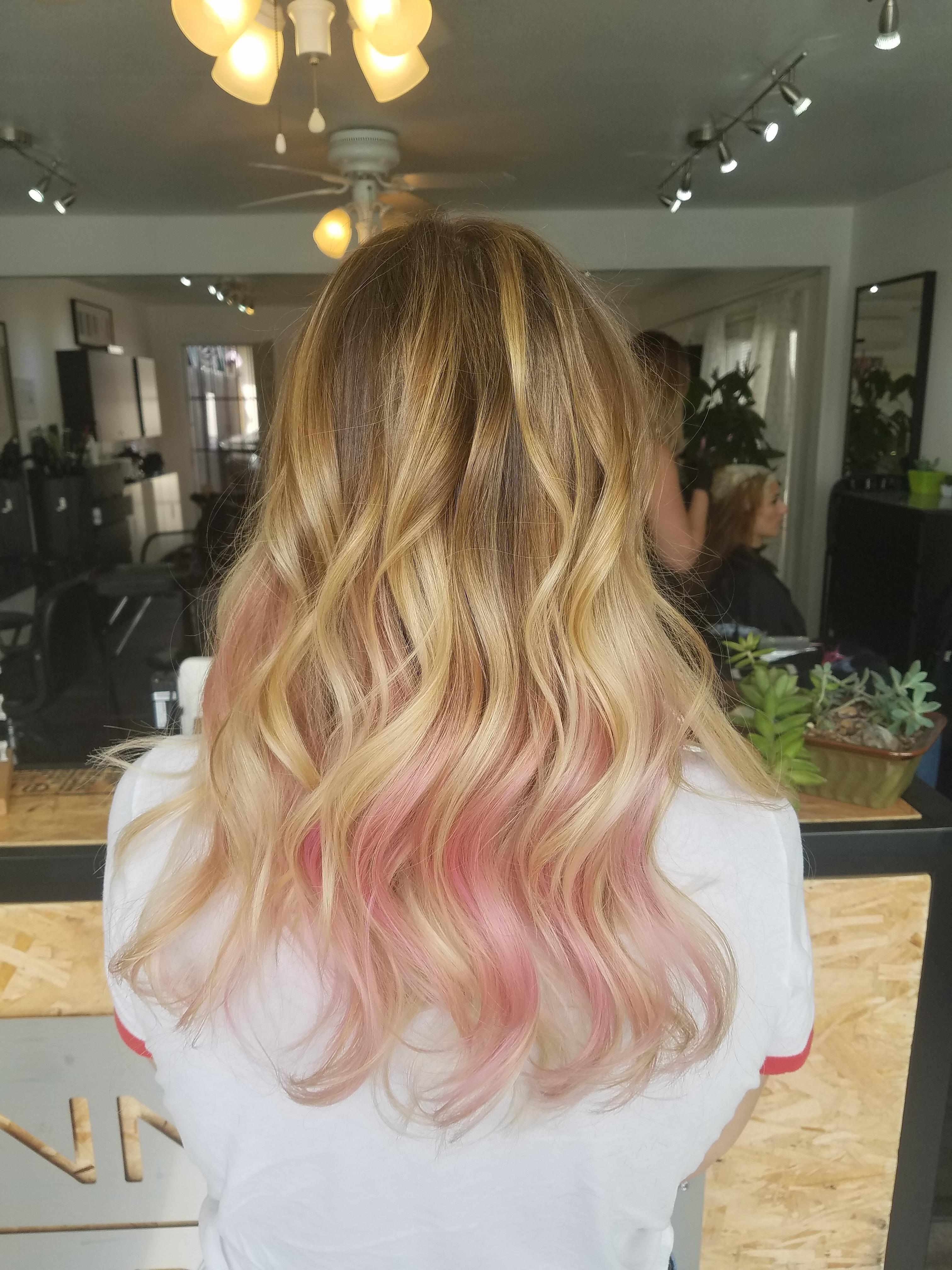Hidden Pink Hair Pink Blonde Hair Pink Hair Dye Hair Color Underneath