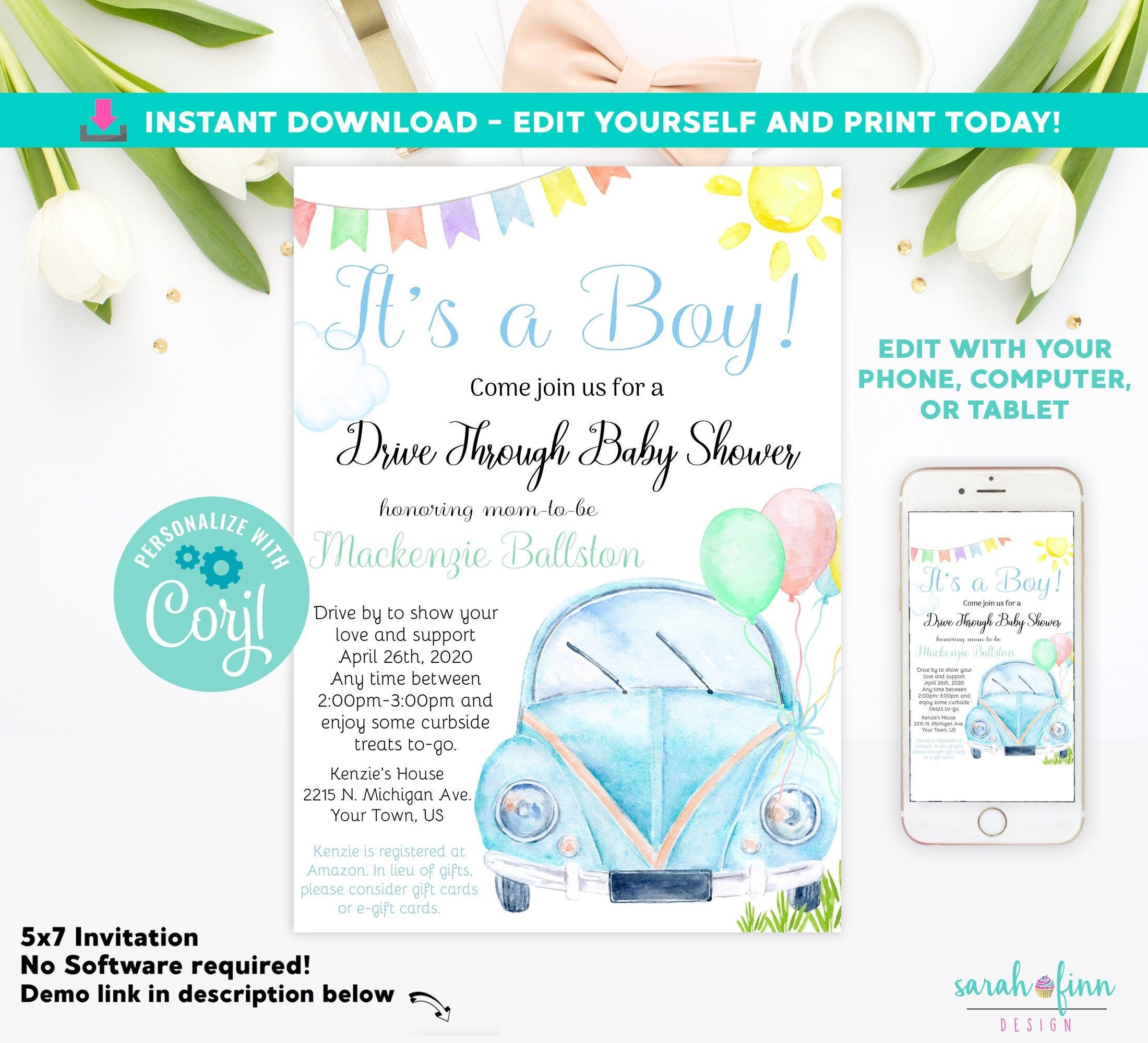 Drive By Baby Shower Invitation Baby Boy Shower Drive Through Etsy In 2020 Baby Shower Invitations For Boys Editable Invitations Baby Shower